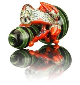 UKIAH SOLD Ukiah Black & Green Bubble Cap w/ Red Frog Attached