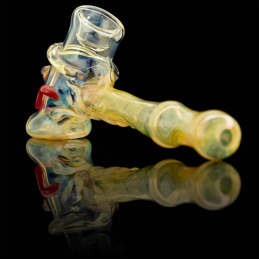 SOLD Bob Snodgrass Lined Stem MR Happy Hammer Pipe Snodgrass Family Glass