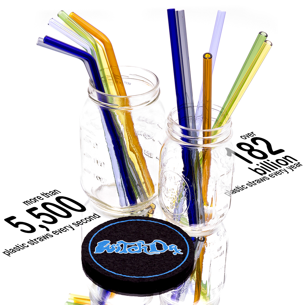 Photo of Witch DR Glass Blowing Studio Glass Drinking Straw - Rainbow 6 Pack Bent