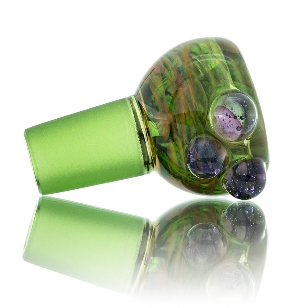 Witch DR Witch DR 14mm Fume on Green Bubble Slide with Puple Dots (B)