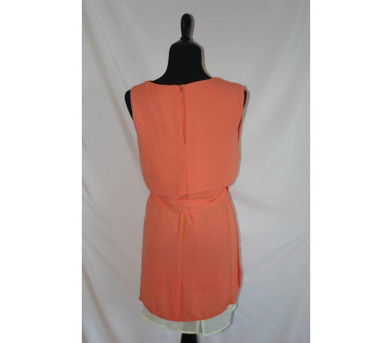 Coral Ribbon Waist Dress