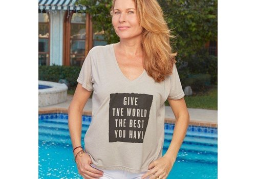 Boxy T Shirt - Give World Best Silver Large