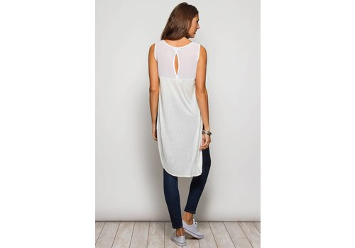 White Sleeveless Tunic Top