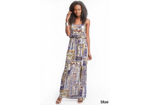 Blue Sleeveless Chiffon Print Maxi