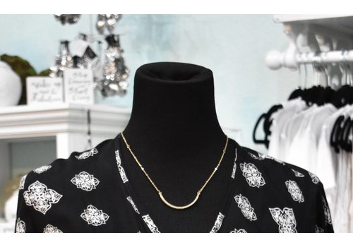 Gold/Crystal Curved Bar Necklace Set