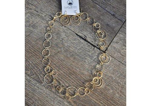 Gold Ring Link Necklace Set