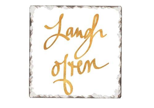 Laugh Often Tile Coaster