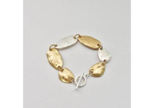 Hammered Silver/Gold Toggle Bracelet