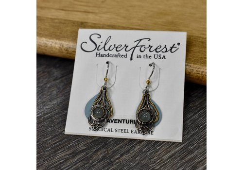 Antique Gold/Silver Earrings with Blue Stone