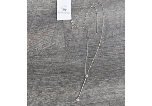 Silver Bar Drop Necklace