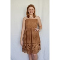 Sleeveless Crochet Camel Dress