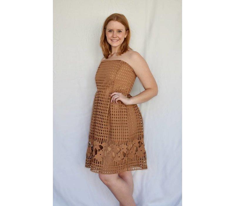 Sleeveless Crochet Camel Dress