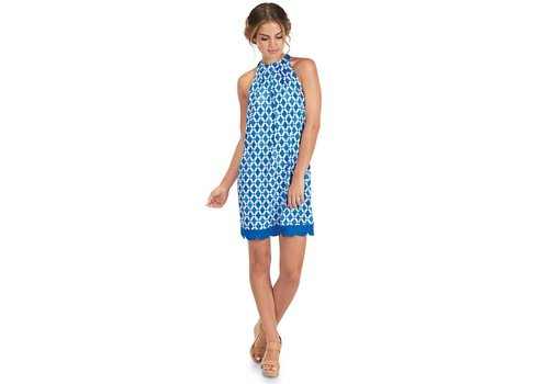 MUD PIE NATALIE Bow Tie Dress, Blue LG