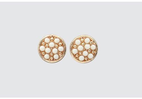 Gold/White Bead Earrings