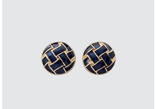 Navy/Gold Basketweave Earring