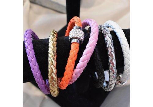 Leather Rhinestone Bracelet