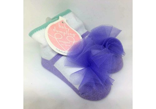 Baby Dumpling purple maryjane socks