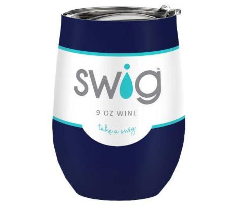 Swig Stemless Wine Glass, Navy Blue