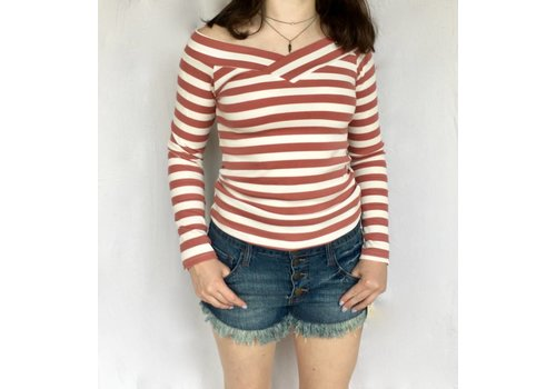 Long Sleeve Off Shoulder Top with Stripes