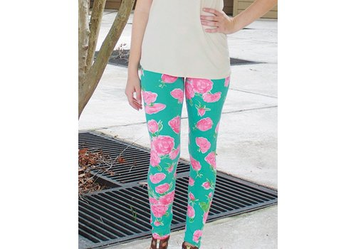 SIMPLY SOUTHERN Mint Roses Leggings