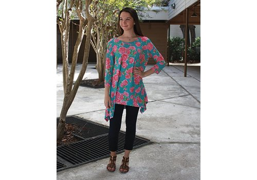 SIMPLY SOUTHERN Mint Roses Top / Tunic / Dress
