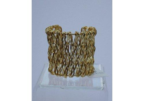 Gold Weave Metal Cuff Bracelet
