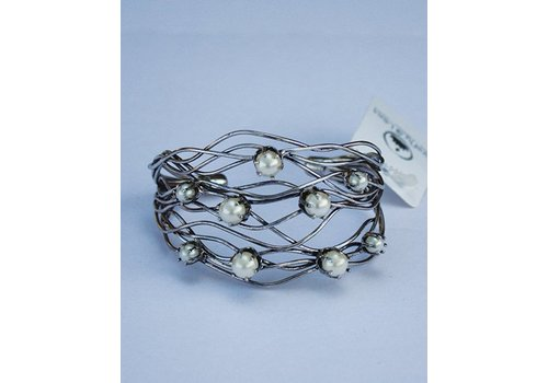 Silver Cuff Bracelet with Pearls