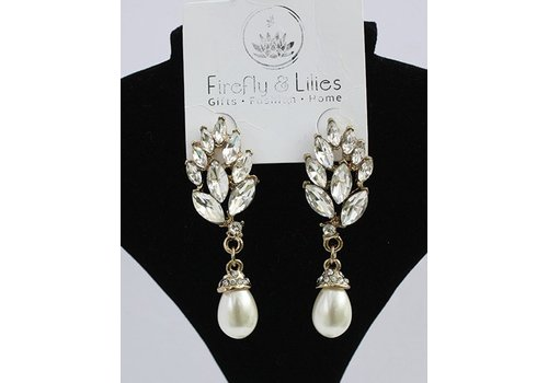Crystal Dangle Earrings with Pearls