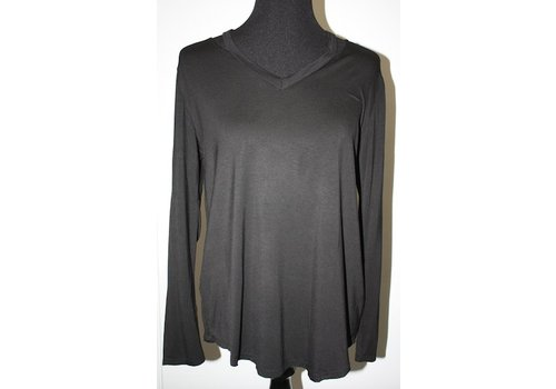 angie Black V-Neck Top with Long Sleeves