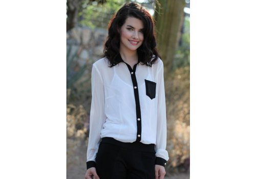 angie embellished collar ivory and black button down