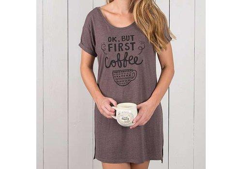 natural life ok, but first coffee night shirt