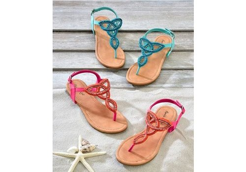 Beaded Thong Strap Sandals