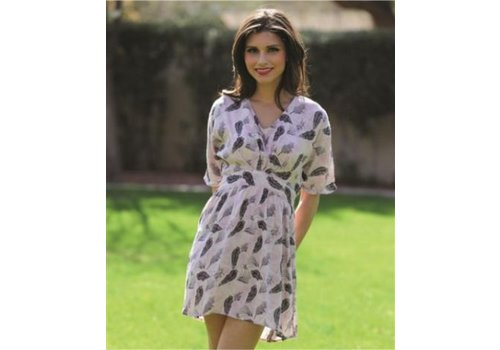Tunic Dress with Feather Pattern