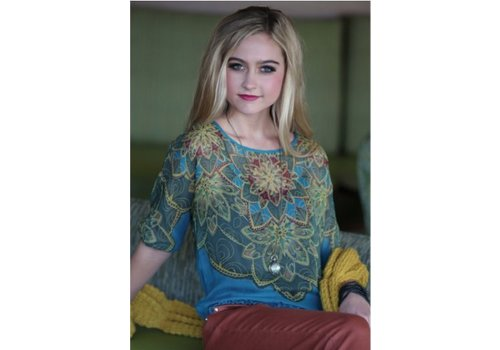 angie Teal Top with flower pattern