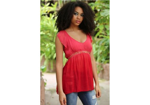 Asis Red Top with Sequins