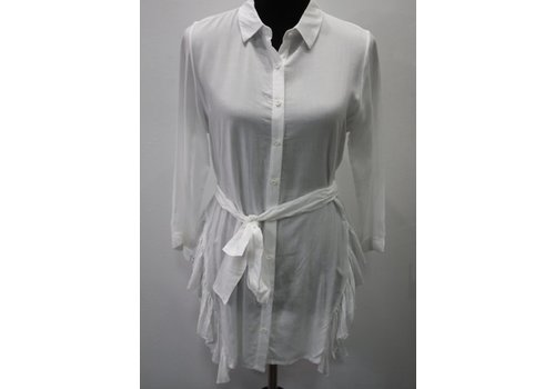 Belted White Button Down - High-Low