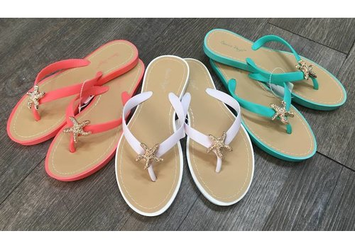 Gift Craft Bling Starfish Flip-Flop Sandals