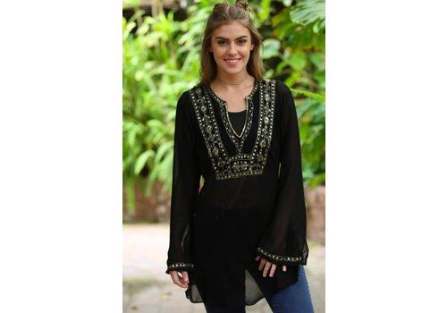 angie Embellished Sheer Black Tunic