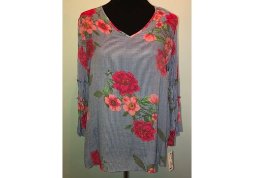 Blue stipe with Floral Print Blouse