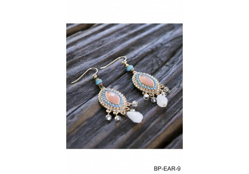 multi colored drop pendant earrings