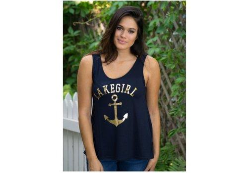 lake girl Lake Girl Gold Anchor Tank Top