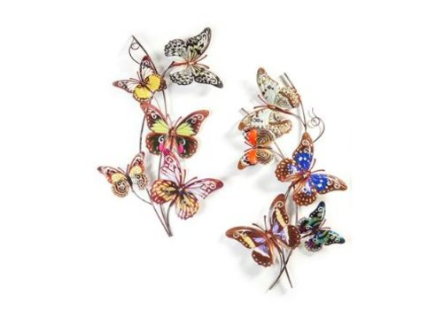 METAL BUTTERFLY & VINE DESIGN WALL DECOR, 2/ASST.