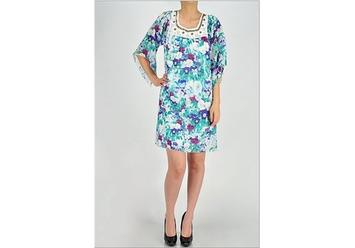 aryeh White Floral Dress with Embellishments