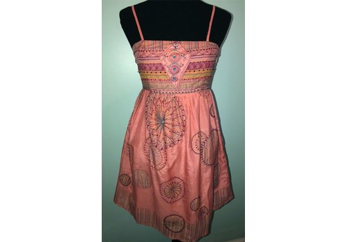 aryeh Coral Summer Dress with Embroidered Details