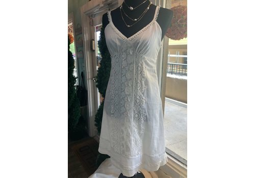 Off White Summer Dress with Lace Detail