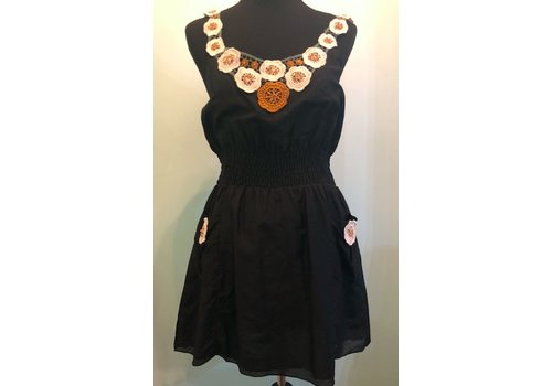 aryeh Black summer dress with embroidered flowers