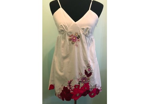 White Summer Dress with Red Floral Embroidery