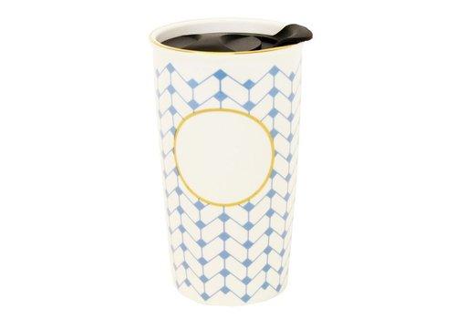 Ceramic monogram-ready travel coffee mug