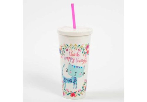 """natural life """"Think Happy Thoughts"""" Cat and Flower Design Travel Cup"""