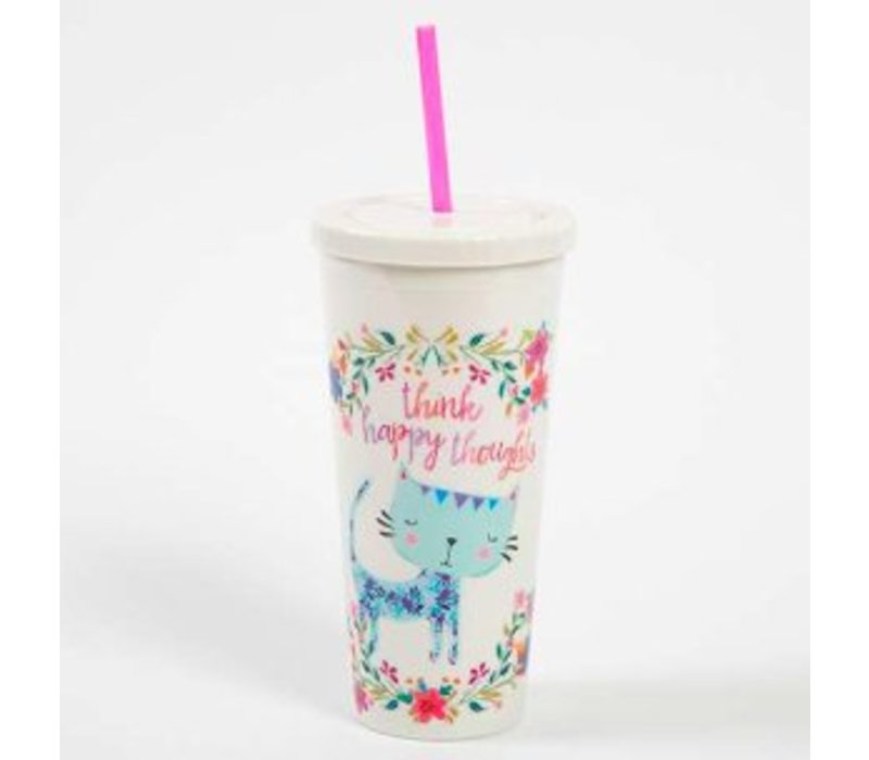 """Think Happy Thoughts"" Cat and Flower Design Travel Cup"